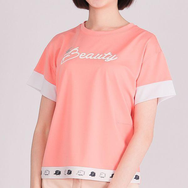 抗UV+吸濕排汗圓領衫(女)-粉桔