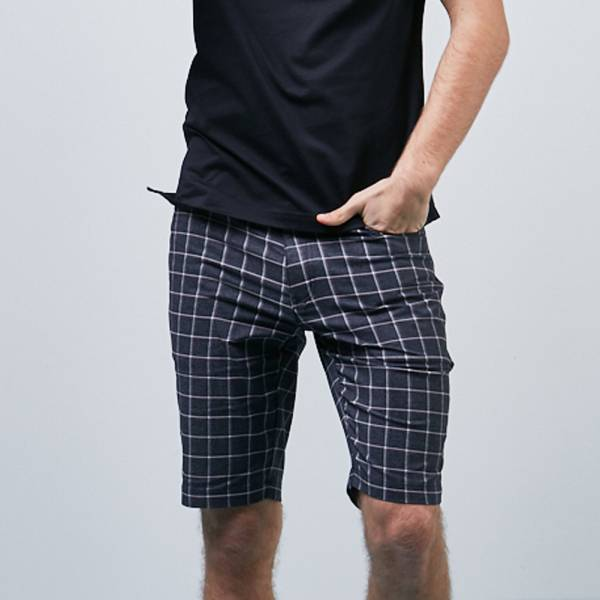 雙色感色紗格紋休閒薄短褲
