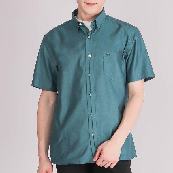 奧地利進口埃及棉休閒襯衫(男)-湖綠