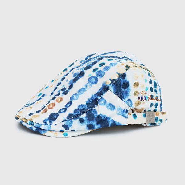 義大利麻布渲染狩獵帽/貝雷帽-藍