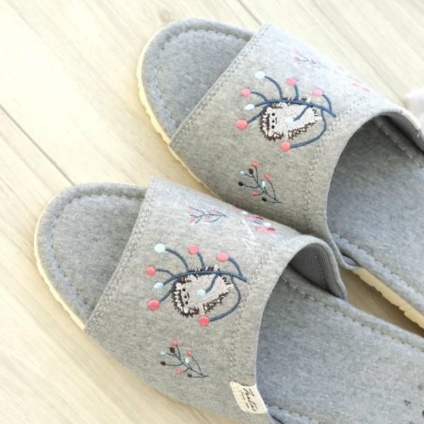 有機棉彩色刺繡家居拖鞋/室內拖鞋-深麻灰(彩色蒲公英) 室內拖,台灣設計,台灣製造,拖鞋,布花,居家良品,防滑,刺蝟,蒲公英