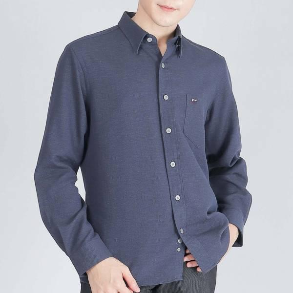 奧地利埃及棉休閒襯衫(男)-藍