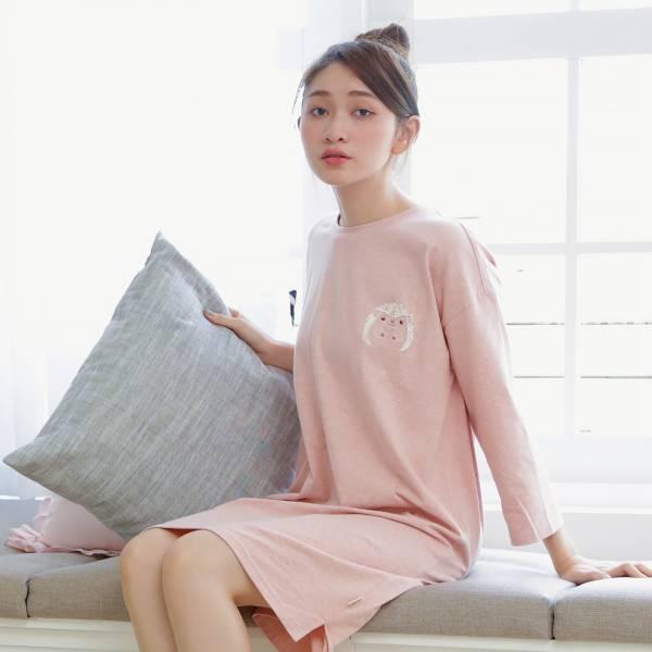 花漾刺蝟七分袖連身裙居家服-GOTS認證有機綿-共5色 家居服,舒適,刺繡,台灣設計,台灣製造,文青,文創設計,刺蝟,居家良品