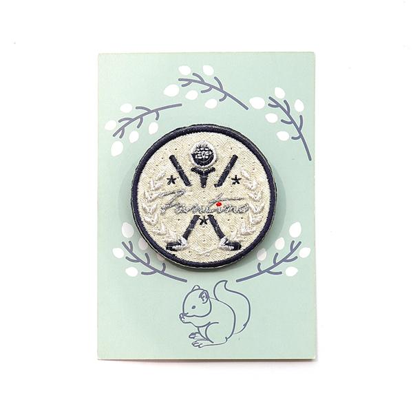 獨家設計刺繡胸章(高爾夫圓) 胸章,徽章,台灣製造,婚禮小物,刺蝟