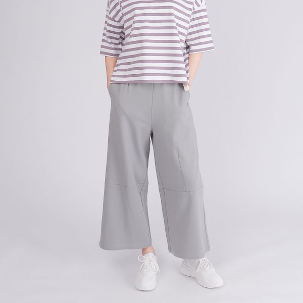 UMORFIL膠原蛋白舒適造型寬褲(女)-淺灰