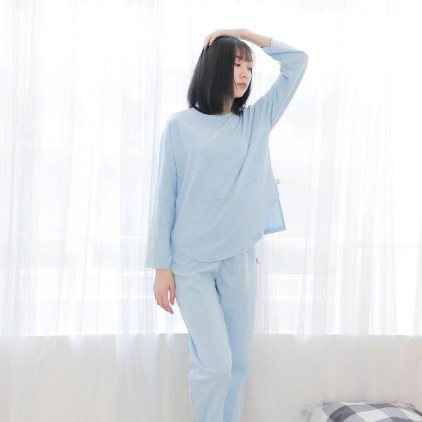 UMORFIL膠原蛋白長袖家居服/睡衣/居家服-麻花藍 睡衣,家居服,居家服,家居褲,居家褲,舒服睡衣,umorfil,膠原蛋白紗,美膚膠原蛋白,有機棉,親膚