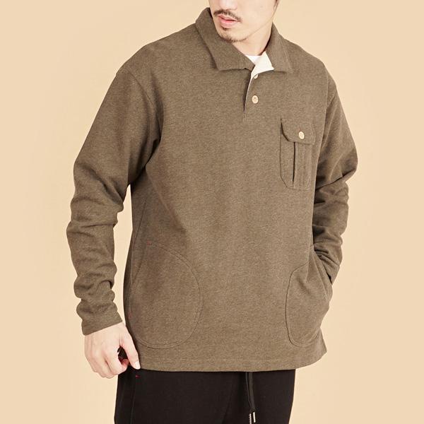 膠原蛋白厚紡刷毛側邊口袋長袖POLO衫(男)-麻花啡