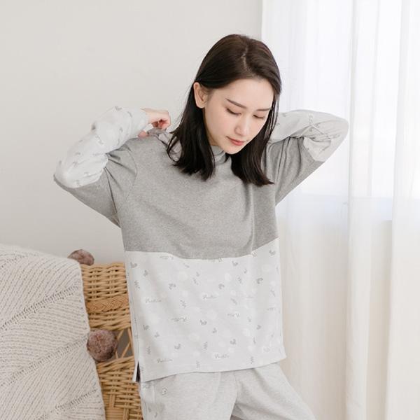 有機棉拼接美膚膠原蛋白連帽保暖居家上衣-拼接灰 睡衣,家居服,居家服,家居褲,居家褲,舒服睡衣,umorfil,膠原蛋白紗,美膚膠原蛋白,有機棉,親膚