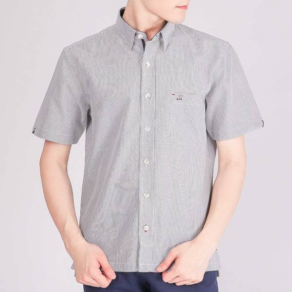 埃及棉休閒襯衫(男)-深灰細紋