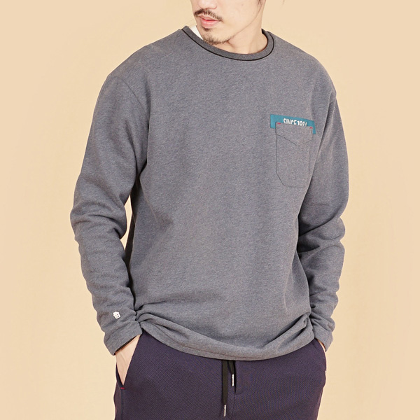 膠原蛋白厚紡刷毛口袋繡花圓領長袖棉衫(男)-麻花藍