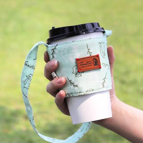 雙層隔熱環保飲料杯套/飲料提袋(森林萬花筒)-薄荷綠 飲料杯套,環保杯套,手提杯套,杯套,環保飲料提袋,飲料袋,飲料提袋,婚禮小物,禮物,外帶,環保,防水布,杯套,飲料,提袋,杯套提袋,環保杯袋,環保杯,飲料杯