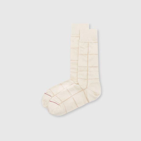 【法國製】抗菌防臭格紋紳士中筒襪-米色