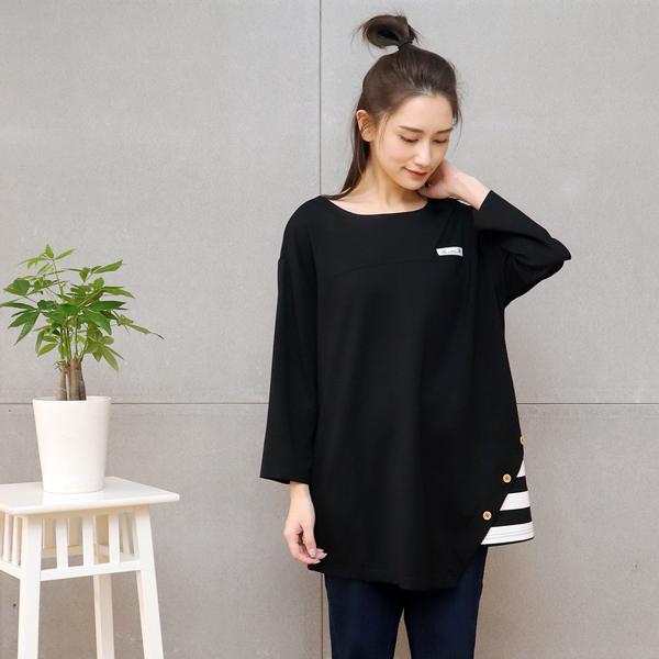 條紋不對稱七分袖T恤(共3色) 休閒服,舒適,刺繡,台灣設計,台灣製造,文青,文創設計,刺蝟,戶外休閒