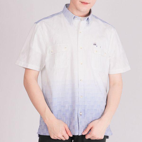 埃及棉漸層設計休閒襯衫(男)-水藍漸層