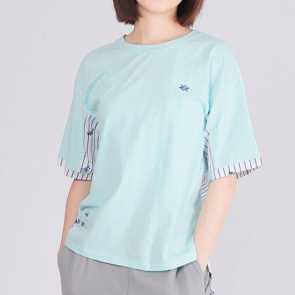 有機棉拼接落肩圓領衫(女)-麻花藍
