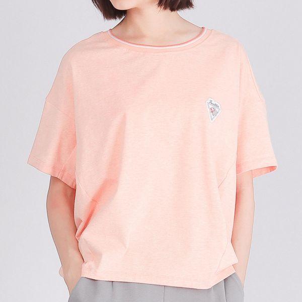 有機棉修身圓領衫(女)-麻花粉