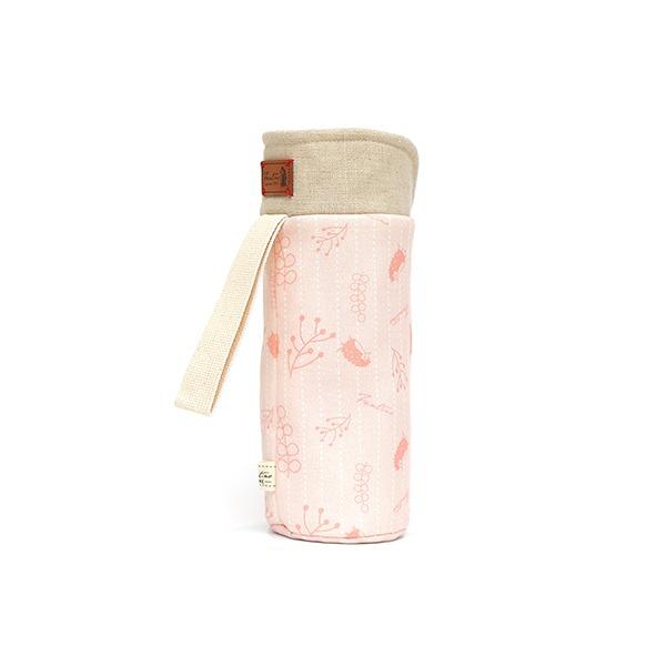 保溫防撞水壺袋/水瓶提袋(漂浮森林)-草莓粉 保溫袋,水壺袋,水壺提袋,保冰溫,手攜式,防撞,防摔,保溫瓶,玻璃瓶,水壺,學生,保溫杯套,隔熱保護,水杯套