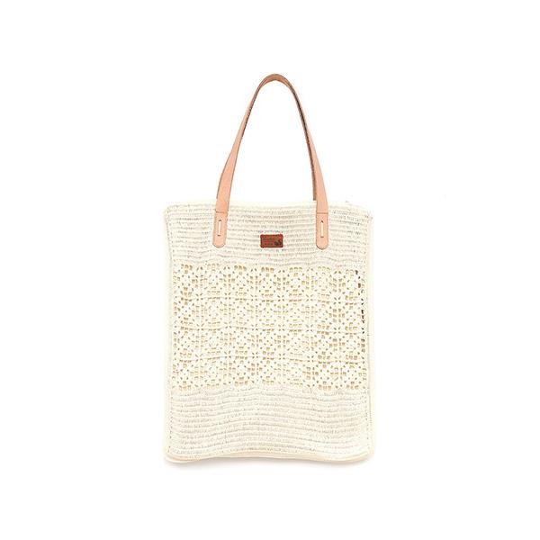 手工針織真皮手提袋-米白色/A4編織手提包 手工布料,台灣設計,台灣製造,花布設計,質感袋包,文創設計,刺蝟,提袋,包包,居家良品,提袋,手提包,方包,肩背包,側背包