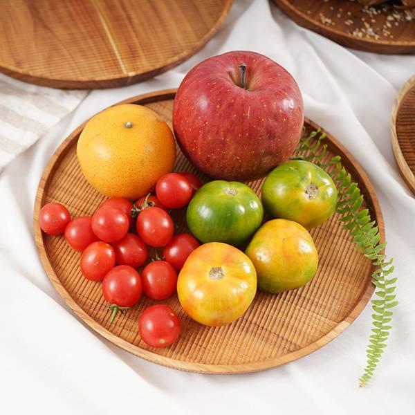 天然柚木圓型托盤L號(直徑26cm)-條紋款 柚木,廚房,餐具,木盤