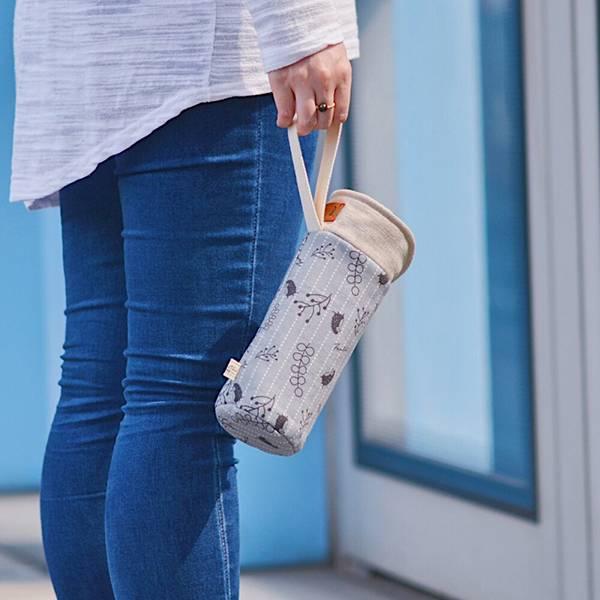 保溫防撞水壺袋/水瓶提袋(漂浮森林)-月球灰 保溫袋,水壺袋,水壺提袋,保冰溫,手攜式,防撞,防摔,保溫瓶,玻璃瓶,水壺,學生,保溫杯套,隔熱保護,水杯套