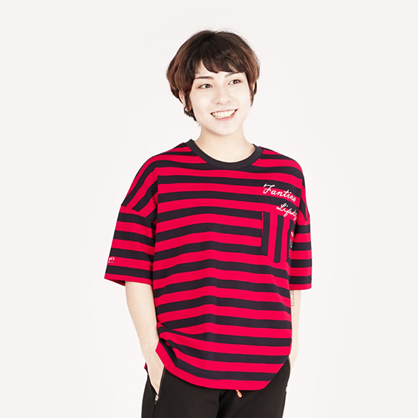 經典條紋休閒T恤(女)-紅黑條