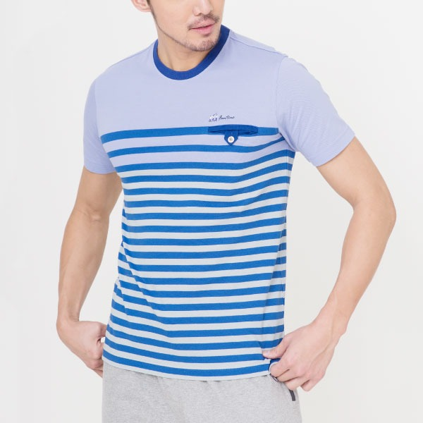 純棉條紋口袋短袖T恤(共2色)