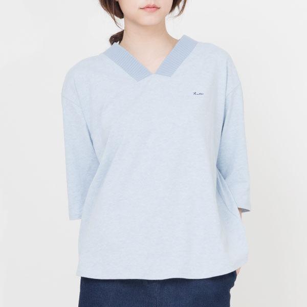 厚紡有機棉V領刺繡棉衫(共4色) 棉,v領,刺繡,服裝,女裝,fantino