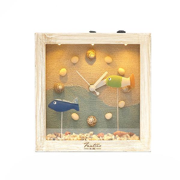 海洋深呼吸 手工木作時鐘-魚魚悠游 家居品, 時鐘, 原木時鐘, 海洋時鐘, 手工時鐘, 療癒時鐘
