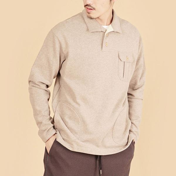 膠原蛋白厚紡刷毛側邊口袋長袖POLO衫(男)-麻花卡其
