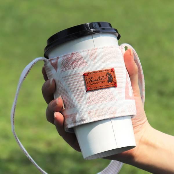 雙層隔熱環保飲料杯套/飲料提袋(三角密室)-石英粉 飲料杯套,環保杯套,手提杯套,杯套,環保飲料提袋,飲料袋,飲料提袋,婚禮小物,禮物,外帶,環保,防水布,杯套,飲料,提袋,杯套提袋,環保杯袋,環保杯,飲料杯