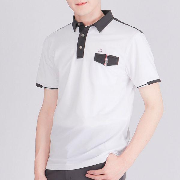 抗UV+吸濕排汗POLO衫(男)-白