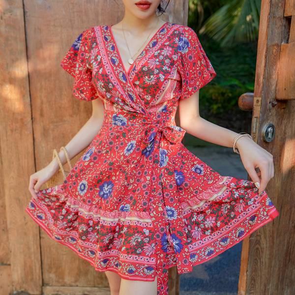 Bianca圖騰度假洋裝 洋裝,連身裙,韓國,正韓,韓貨,長洋