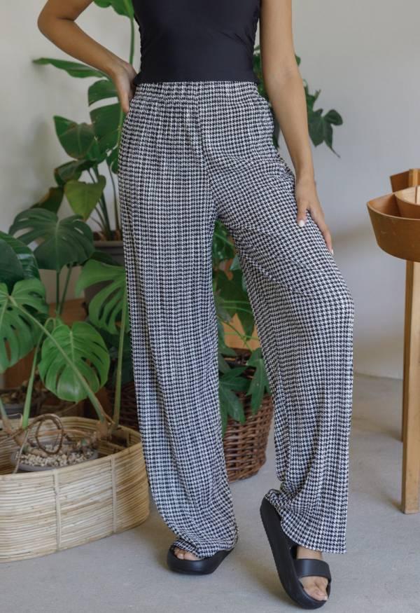 格紋寬鬆長褲