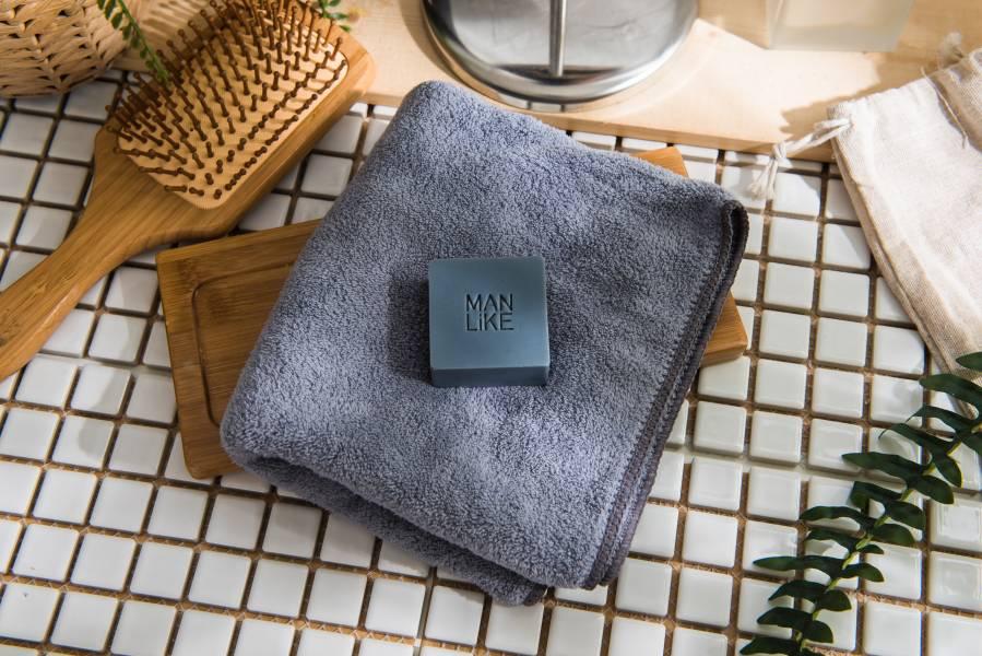 灰黑色毛巾+50克皂 各一 運動,超細,纖維,長毛巾,sports,micro,fiber,long towel,yu100
