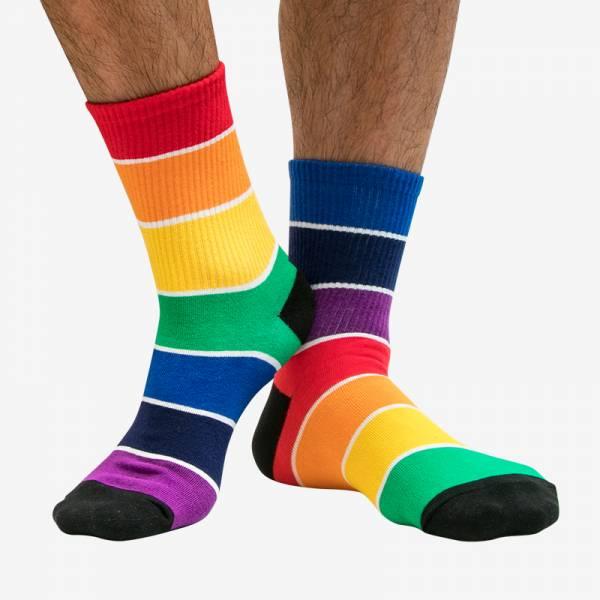 寬條紋彩虹半筒運動襪 KS5902 寬,條紋,彩虹,半筒,運動,襪,wide,strips,rainbow,big,strips,socks,sports,ks5902