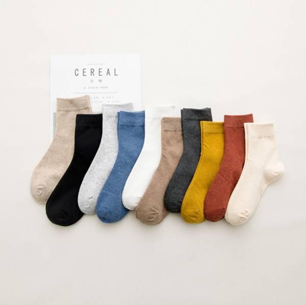 棉質多色短襪組(5色) PlayByPlay,玩生活,純棉,襪子,女用,日系,純色,不挑款