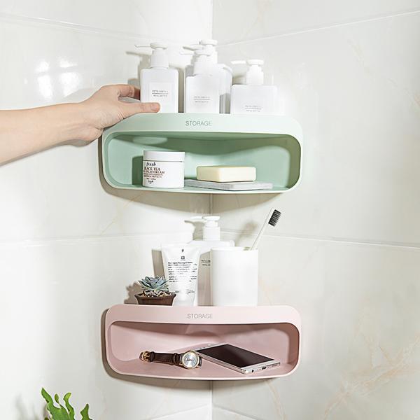 三角雙層置物架 居家,浴室,雙倍空間,分類收納,衛浴瓶罐,肥皂,洗浴用品,多個使用,瀝水孔,邊緣加高,不傾倒,不掉落,貼合牆面