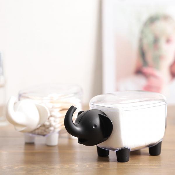 黑象白羊收納盒 PlayByPlay,玩生活,萌,趣味,小象,大象,綿羊,羊,棉花棒,迴紋針,化妝棉