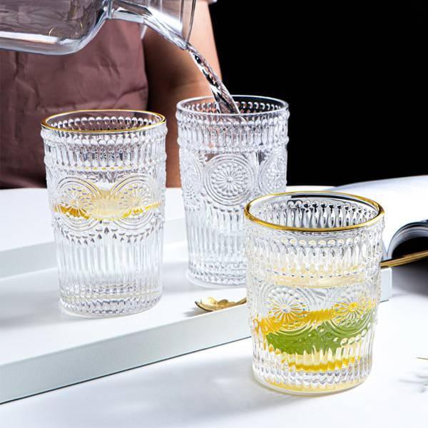 歐風浮雕玻璃杯 PlayByPlay,玩生活,居家,水杯,酒杯,茶杯,玻璃杯,飲料杯,果汁杯,刷具筒,金邊,無鉛玻璃,歐風,華麗,貴族風,復古,ins