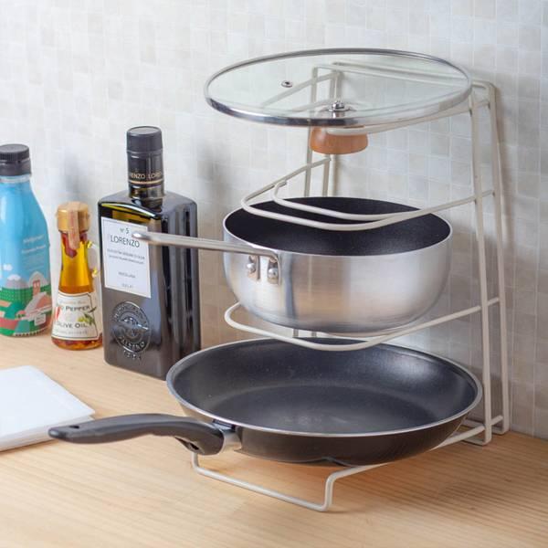 四層兩用鍋具架 PlayByPlay,玩生活,居家,廚房,鍋具,鍋子,鍋蓋,收納,鐵藝,兩用,橫放,立放,穩固,耐用,止滑,不傷檯面,噴塑,細緻