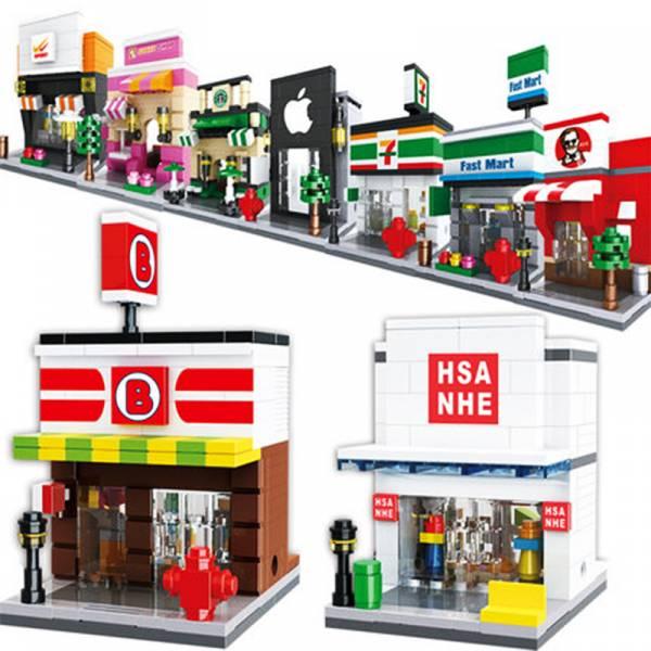 今天實現開店夢 - 積木商店街(1入) 積木,樂高,商店街,玩具,兒童,街景,公仔