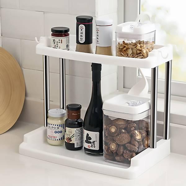 廚房雙層置物架 PP,不鏽鋼管,多層,收納,廚房,調味品,浴室,洗漱用品