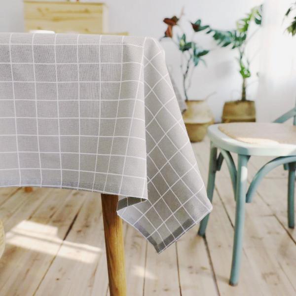 日系棉麻格子桌布(140x180) PlayByPlay,玩生活,日系,棉麻,格紋,桌布,灰色,雜貨