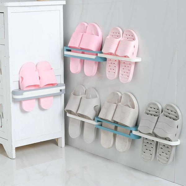 三合一折疊拖鞋架 PlayByPlay,玩生活,居家,拖鞋,收納架,轉角,牆面,省空間,壁掛,展開,背膠,免釘,免鑽,防水,毛巾