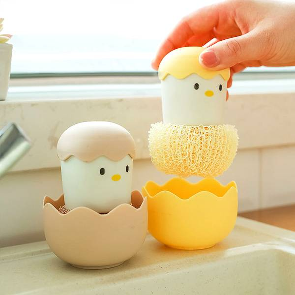 蛋殼小雞手柄刷 PlayByPlay,玩生活,居家,廚房,刷子,清潔刷,洗鍋刷,碗刷,奈米纖維,奈米清潔球,清潔刷