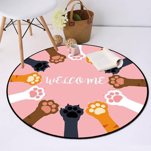貓掌圖樣圓形地墊 PlayByPlay,玩生活,居家,地毯,地墊,法蘭絨纖維,色彩,飽滿,鮮豔,貓掌,圖樣,柔軟,親膚,舒適,加厚海綿,彈性,點塑設計,止滑