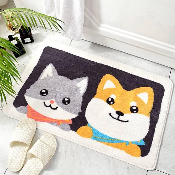 微笑貓狗吸水地墊 PlayByPlay,玩生活,居家,客廳,浴室,地毯,地墊,短絨纖維,急速吸水,止滑,防潮,貓,狗,圖案,TPR膠底,水洗,機洗,不褪色,不掉毛