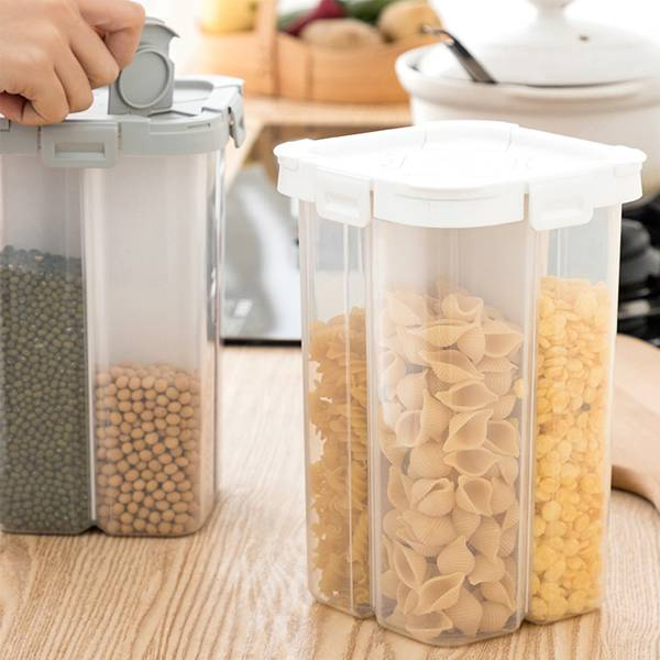 廚房雜糧密封罐 四格 PlayByPlay,玩生活,居家,廚房,五穀雜糧,儲存,收納罐,2.3L大容量,雙邊鎖扣開蓋,,輕鬆倒取,密封緊實,可視化,刻度,收納,櫥櫃,層架,檯面