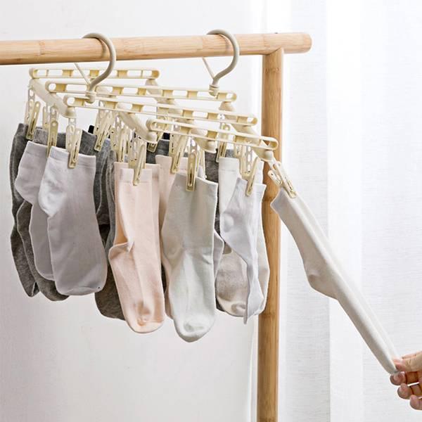 可摺疊旋轉衣架 PlayByPlay,玩生活,居家,陽台,晾曬,襪子,內衣褲,可摺疊,伸縮自如,PP材質,紮實,承重好,夾力穩固,雙掛勾,防風