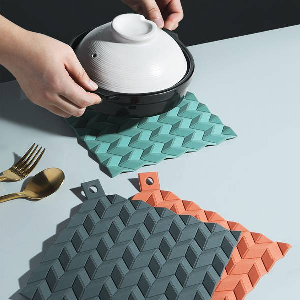 波紋止滑隔熱墊 PlayByPlay,玩生活,居家,餐桌,廚房,隔熱墊,矽膠,波浪狀,菱格紋,隔熱,散熱,止滑,莫蘭迪色,經典,高雅,搶眼,掛勾,收納